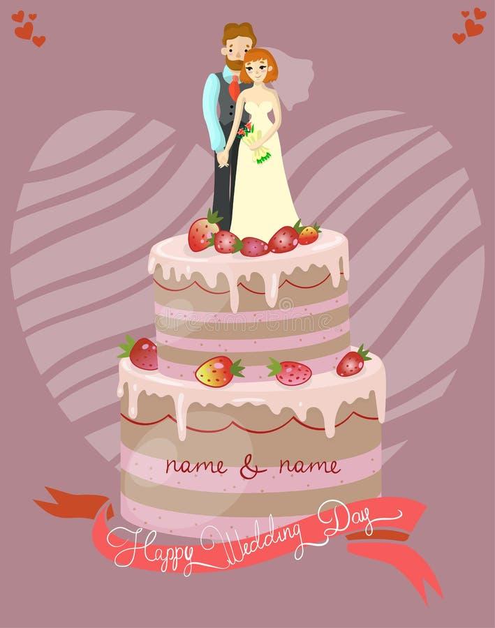 Bröllopstårta med brud- och brudgumvektorillustrationen, hälsningkort vektor illustrationer