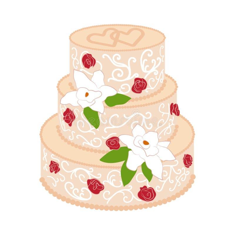 Bröllopstårta med kräm- röda rosor stock illustrationer