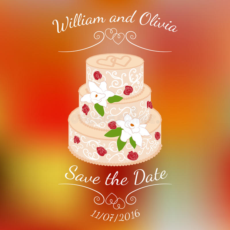 Bröllopstårta med kräm- rosor över färgrik suddig vektorbakgrund royaltyfri illustrationer