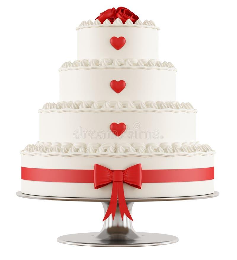 Bröllopstårta på vit royaltyfri illustrationer