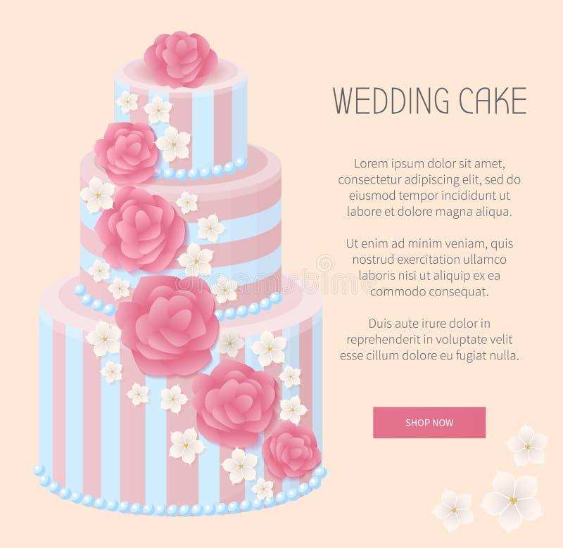 Bröllopstårtan shoppar nu Webpagevektorillustrationen stock illustrationer