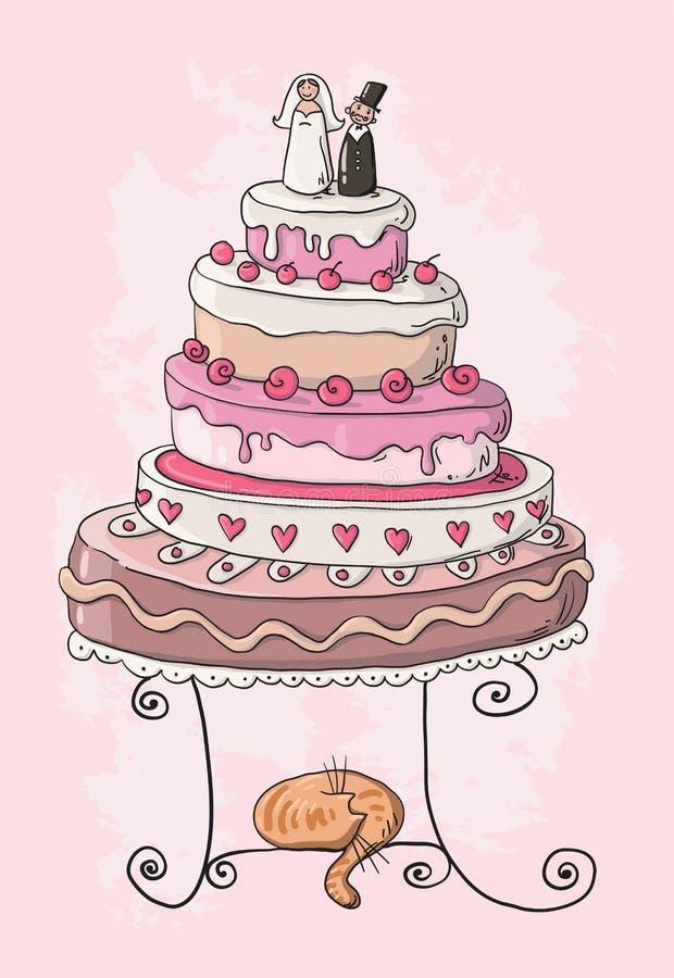 Bröllopstårtatecknad film stock illustrationer