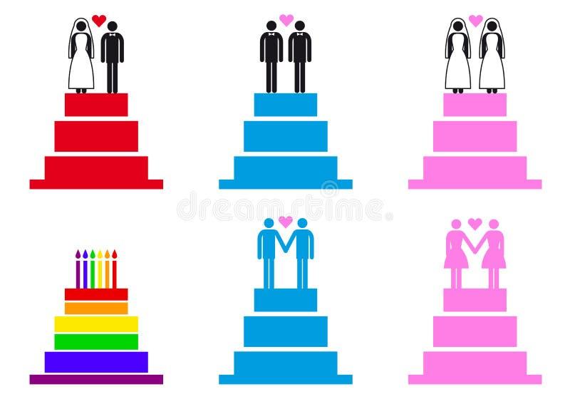 Bröllopstårtor med par, vektoruppsättning royaltyfri illustrationer