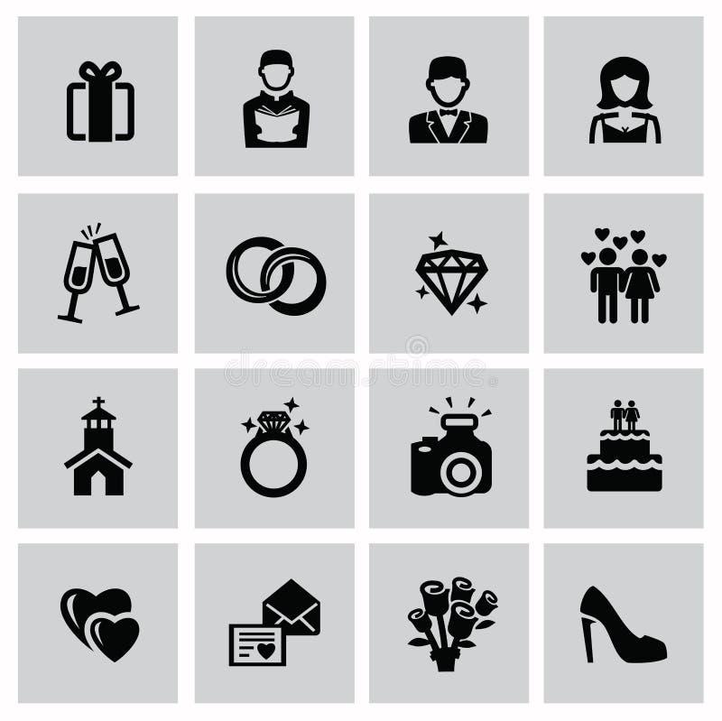 Bröllopsymboler royaltyfri illustrationer