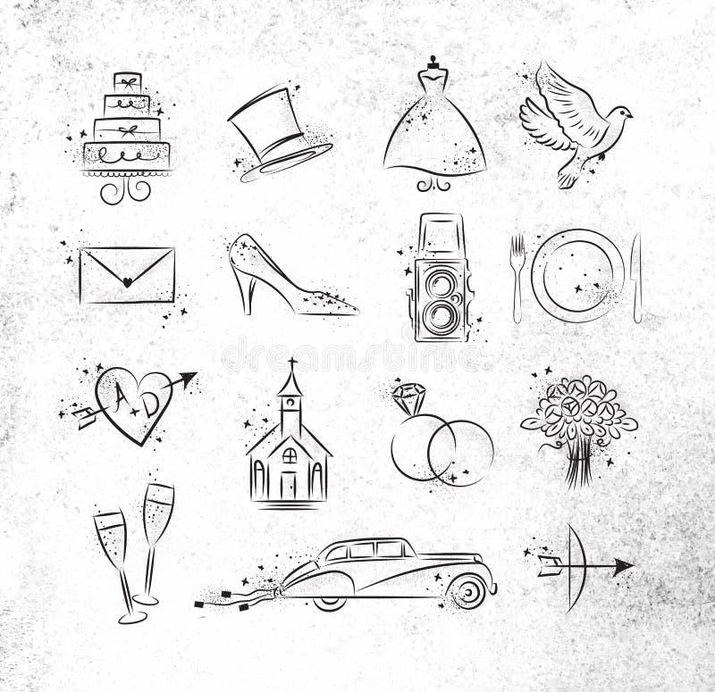 Bröllopsymboler stock illustrationer