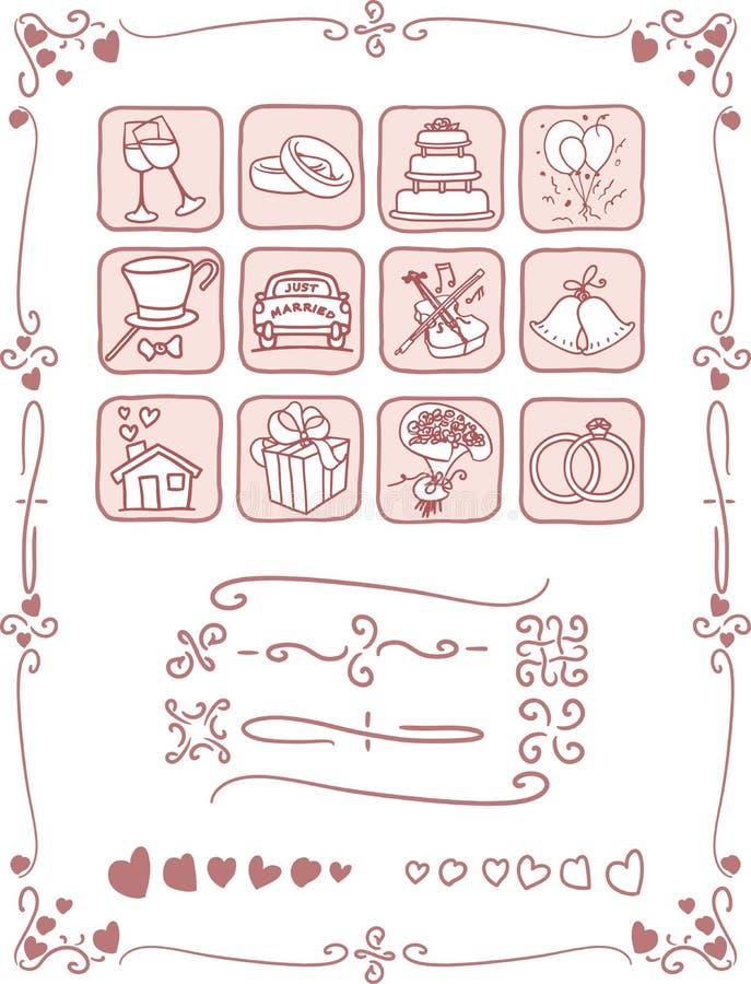 Bröllopsymboler och ramuppsättning vektor illustrationer