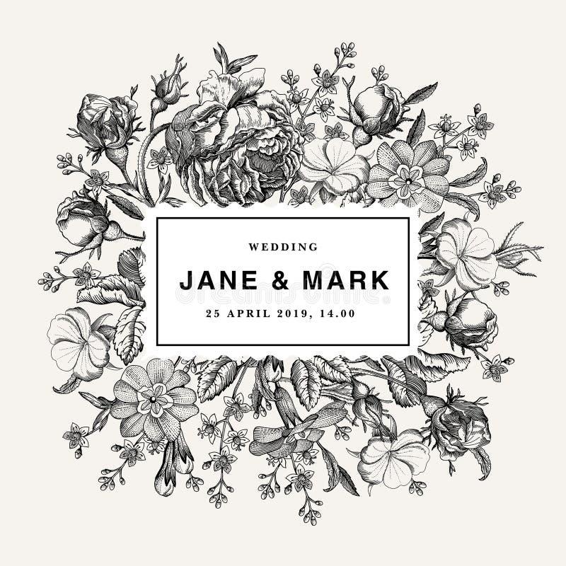 Brölloptack och för blommarosor för inbjudan victorian illustration för härlig realistisk för primulor för kort för ram gravyr fö royaltyfri illustrationer