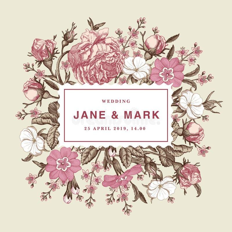 Brölloptack och för blommarosor för inbjudan victorian illustration för härlig realistisk för primulor för kort för ram gravyr fö stock illustrationer
