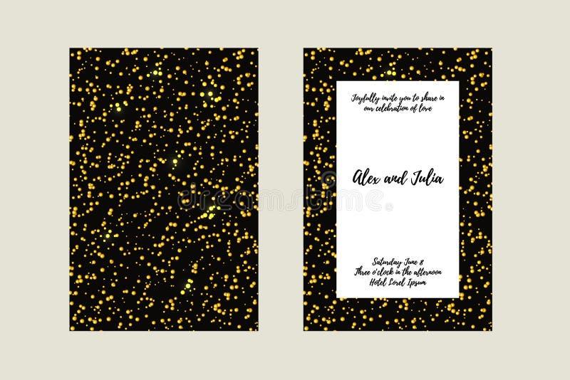 Brölloptappningkort Guld- stjärnadekor i modern stil Mallram för räddning datum- och hälsningkortet, bröllopinbjudan vektor illustrationer