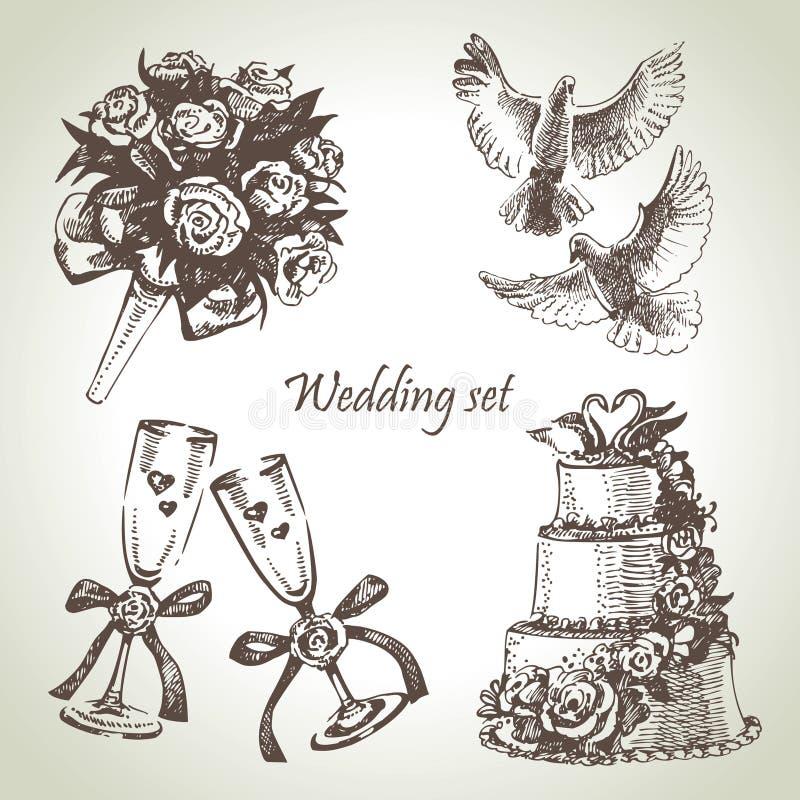 Bröllopuppsättning stock illustrationer