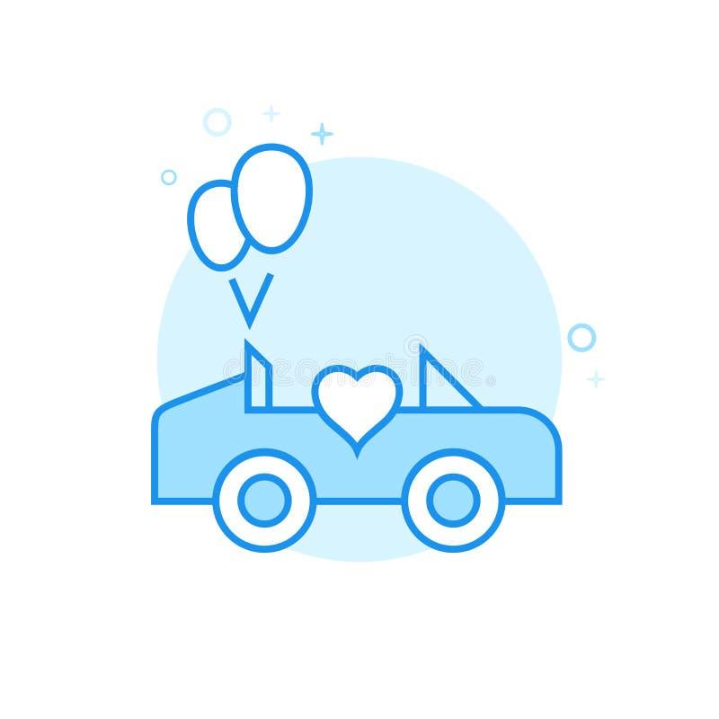 Bröllopvagn, plan vektorsymbol för bil, symbol, Pictogram, tecken Ljust - blå monokrom design Redigerbar slaglängd royaltyfri illustrationer