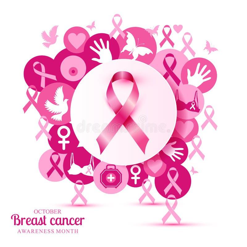 Bröstcancerillustration av rosa symboler med det realistiska symbolbandet vektor illustrationer