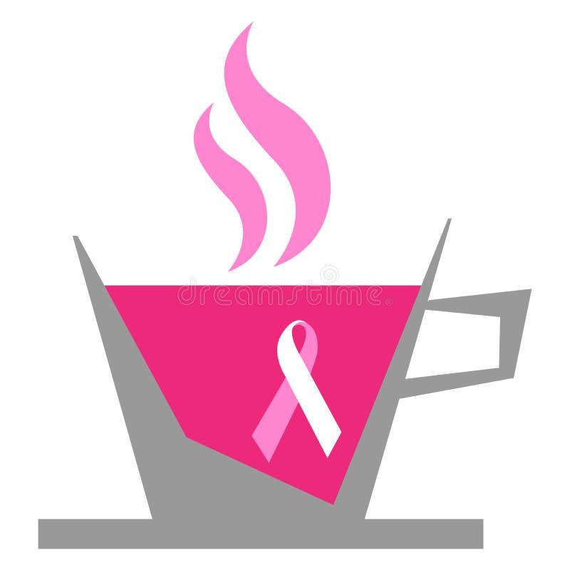 bröstcancerkaffe stock illustrationer