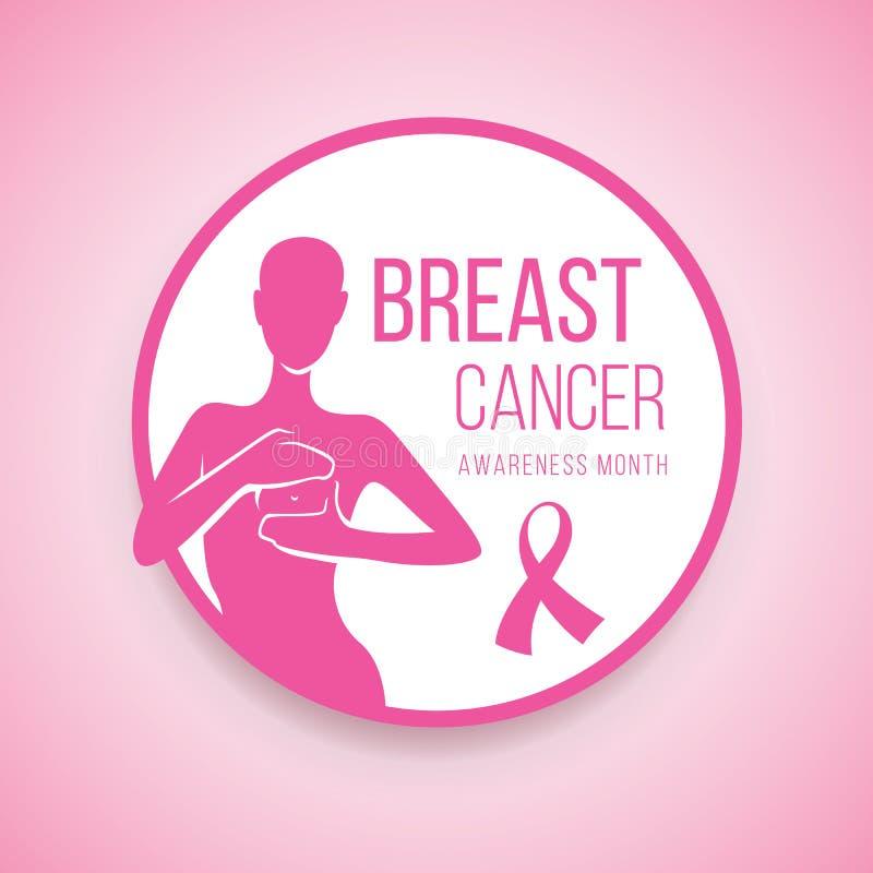 Bröstcancermedvetenhet med människan är självkontrollen för bröstcancer undertecknar in design för cirkelramvektor royaltyfri illustrationer