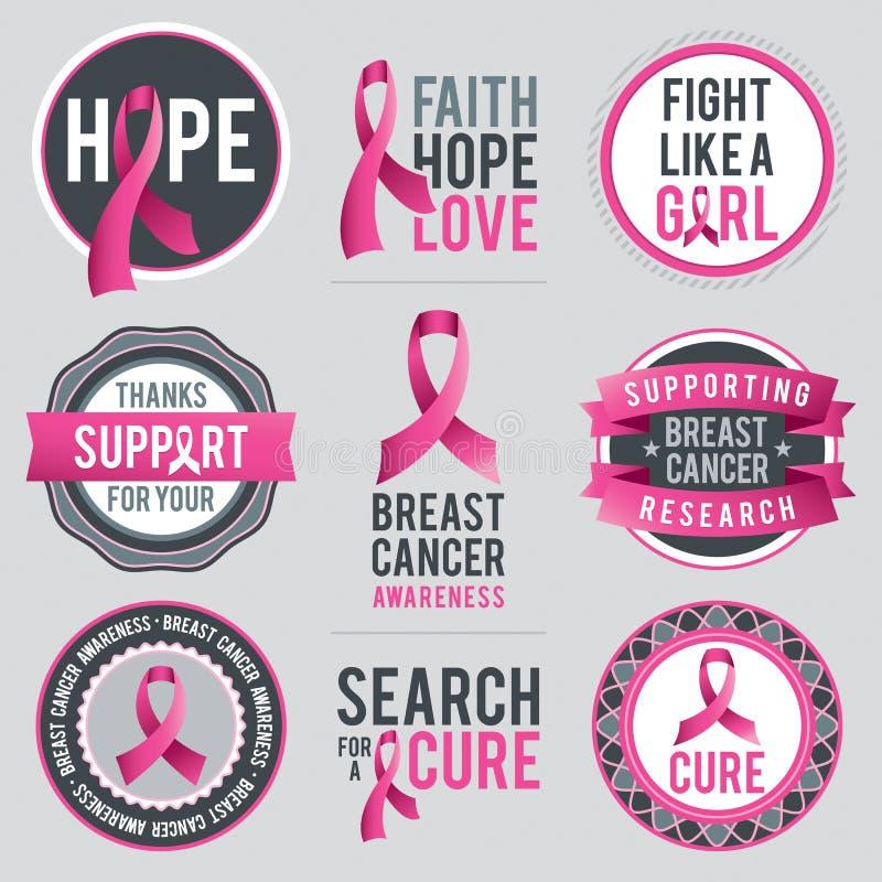 Bröstcancermedvetenhetband och emblem royaltyfri illustrationer