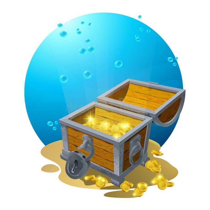 Bröstkorg av guld i sanden under de blåa molnen - vektorillustration för designen, bakgrunder, vykort vektor stock illustrationer