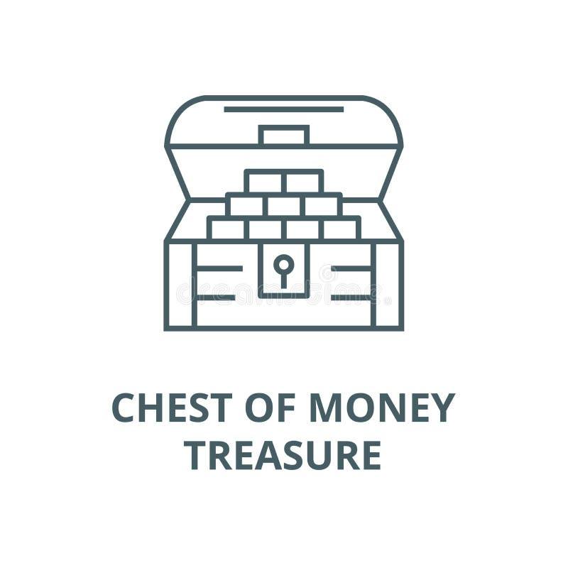 Bröstkorg av pengar, skattlinje symbol, vektor Bröstkorg av pengar, skattöversiktstecken, begreppssymbol, plan illustration stock illustrationer