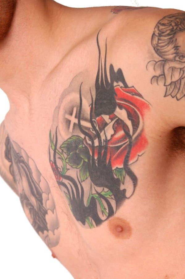 bröstkorgtatuering royaltyfri fotografi