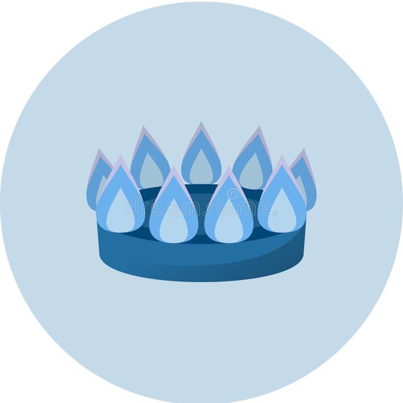 Brûleur avec l'icône du feu, illustration semi plate de vecteur de gaz de ménage, brasero, gaz domastic, gaz de ville illustration stock