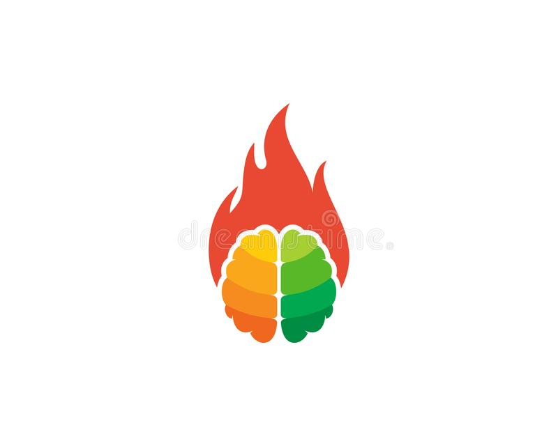 Brûlure Brain Logo Icon Design illustration de vecteur