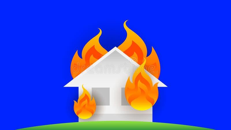 Brûlure du feu de Chambre, brûlure de maison du feu de symbole, accident de flamme, danger d'icône d'illustration d'accident d illustration libre de droits