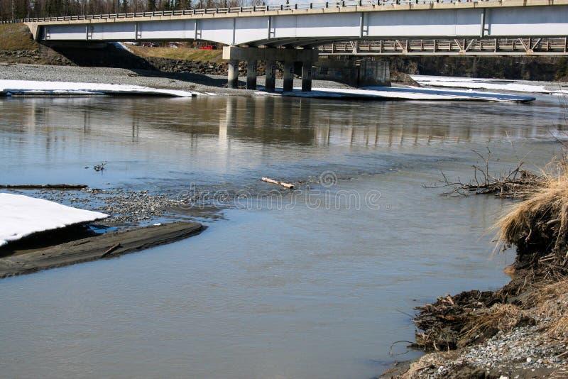 Brücke über alaskischem Fluss stockbilder
