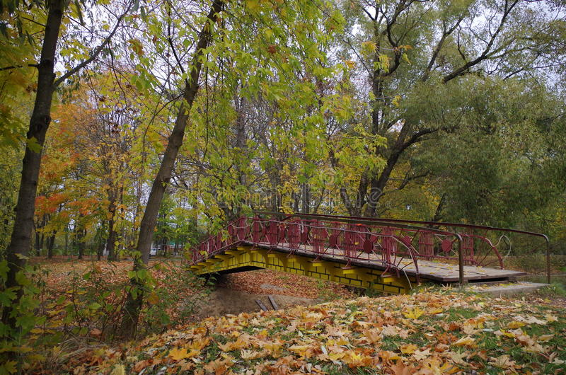 Brücke über dem Teich lizenzfreies stockbild
