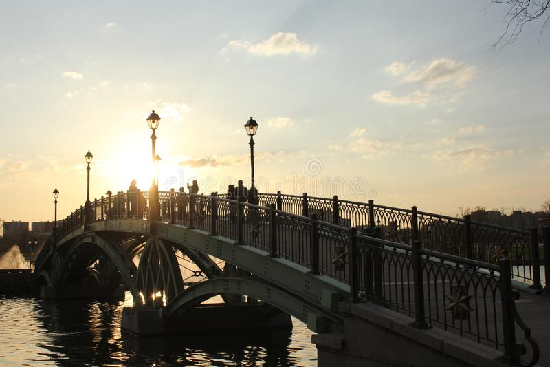 Brücke über dem Teich im Park lizenzfreies stockfoto