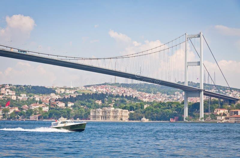 Brücke über der Bosphorus-Straße in Istanbul, die Türkei stockfoto