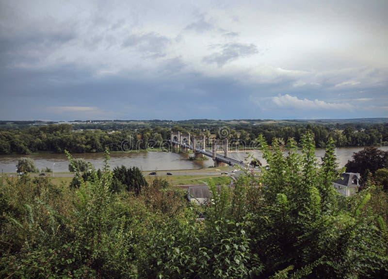 Brücke über der Loire - Langeais - Frankreich stockfotos