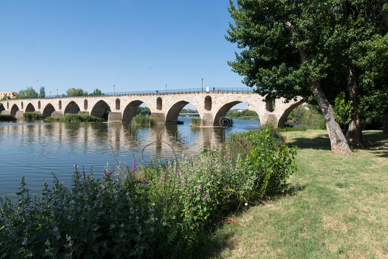 Brücke über Duero-Fluss in Zamora, Spanien stockfotografie