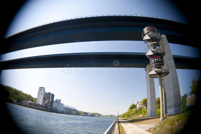 Brücke über Kiel Canal stockbilder