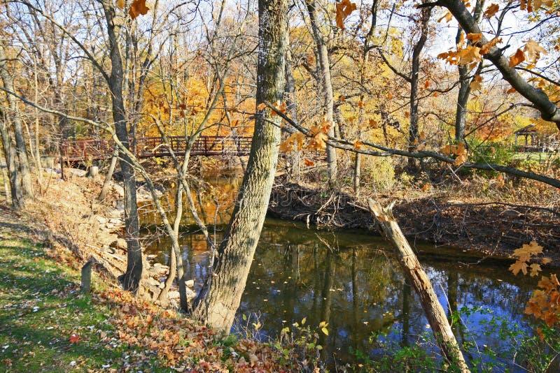 Brücke über tiefem Flussgrafschaftpark stockfotografie