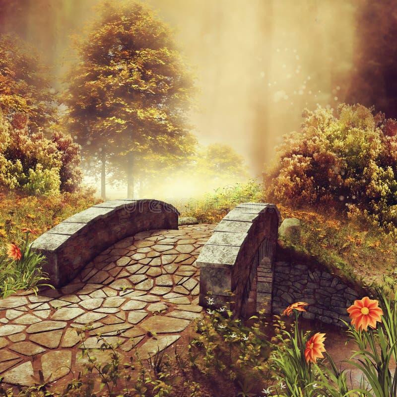 Brücke auf einer bunten Herbstwiese lizenzfreie abbildung