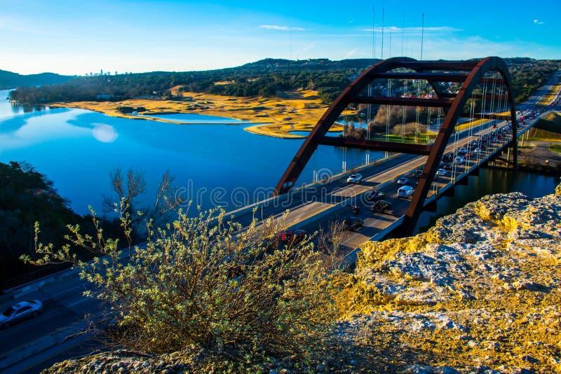 360 Brücke Austin Texas Morning Sunrise lizenzfreies stockfoto