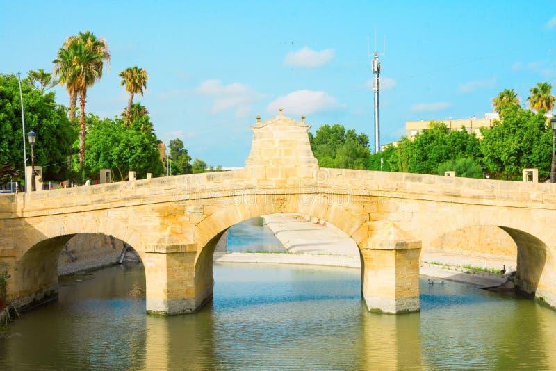 Brücke Charless III über dem Segura-Fluss in Rojales in Alicante-Provinz Spanien Grünbaumreflexionen des blauen Himmels des Somme stockbild