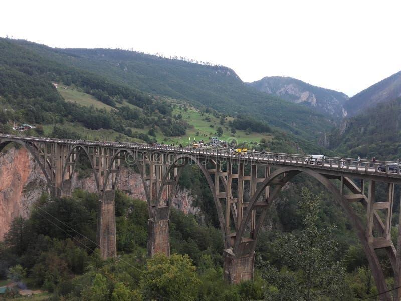 Brücke in dem Fluss Tara in Montenegro lizenzfreie stockbilder