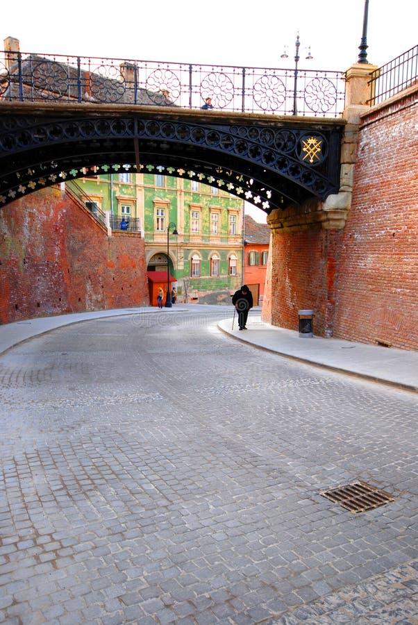 Brücke des Lügners in Sibiu Rumänien lizenzfreie stockbilder