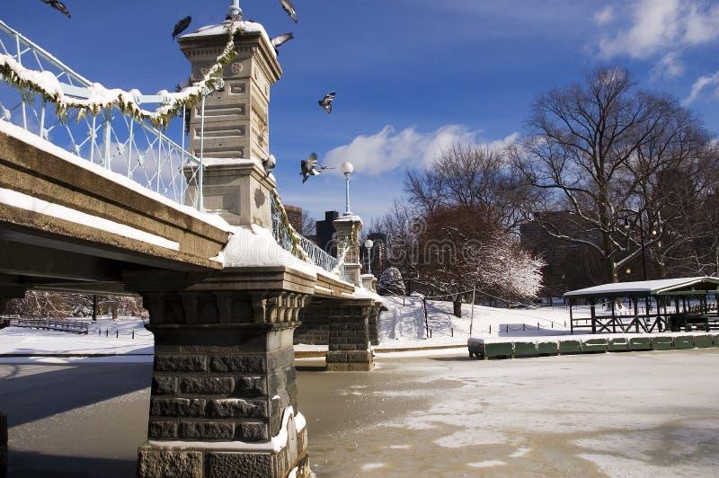 Brücke im Winter stockfotografie