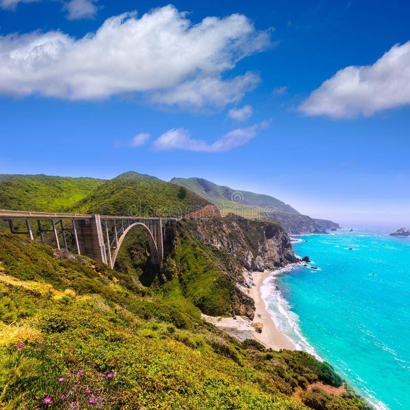 Brücke Kaliforniens Bixby in Big Sur Monterey County in Weg 1 lizenzfreies stockfoto