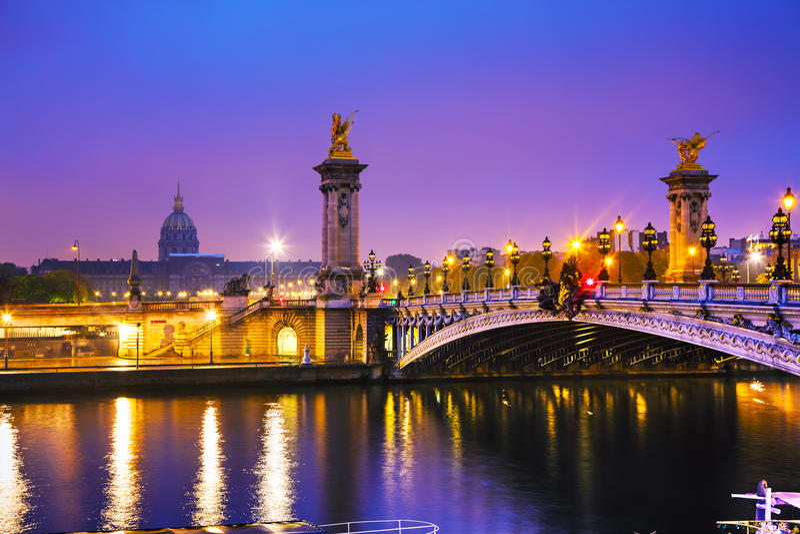 Brücke Pont Alexandre III Alexander III. in Paris, Frankreich stockfotografie
