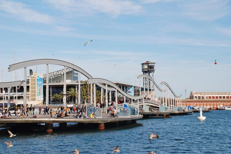 Brücke Rambla Del Mar, Barcelona lizenzfreies stockbild