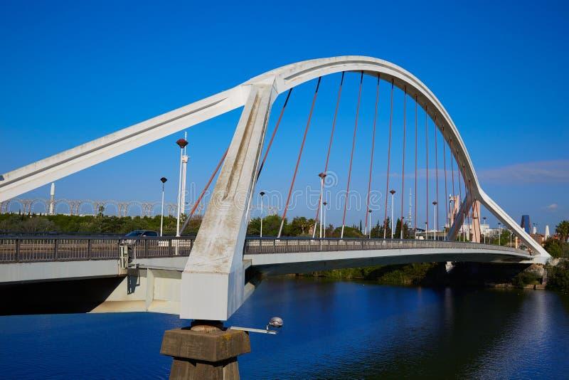 Brücke Sevilla Sevillas Puente de la Barqueta stockbild