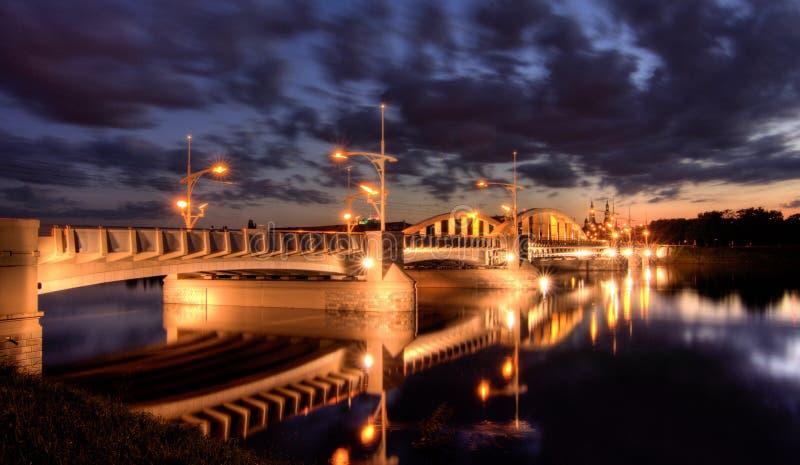 Brücke Str.-Rocha in Poznan stockfotos
