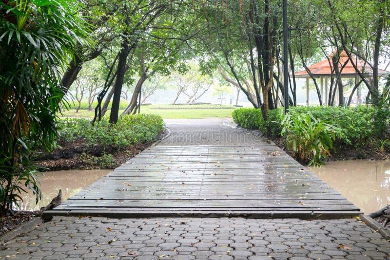 Brücke und Gehweg nach dem Regen an Park Suan Luang Rama 9 stockfotos