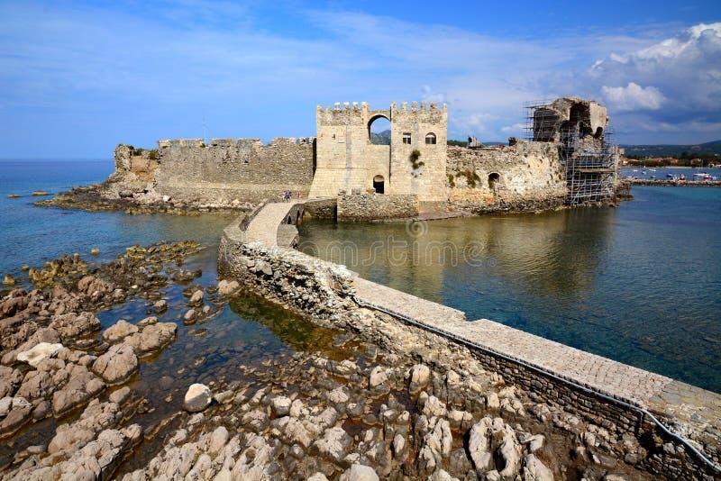 Brücke zum Tor in venetianischer Festung Methoni im Peloponnes, Messenia, Griechenland stockfoto