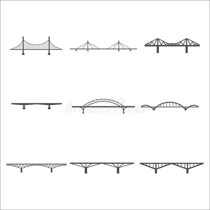 Brückenikonen eingestellt lizenzfreie abbildung