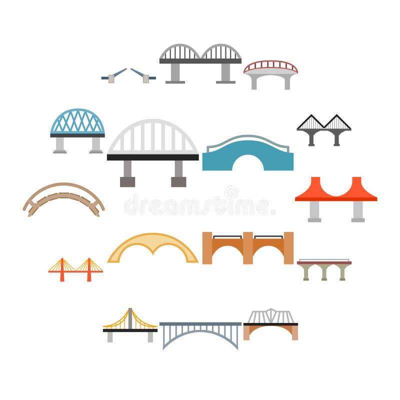 Brückenikonen eingestellt, flache Art stockbilder