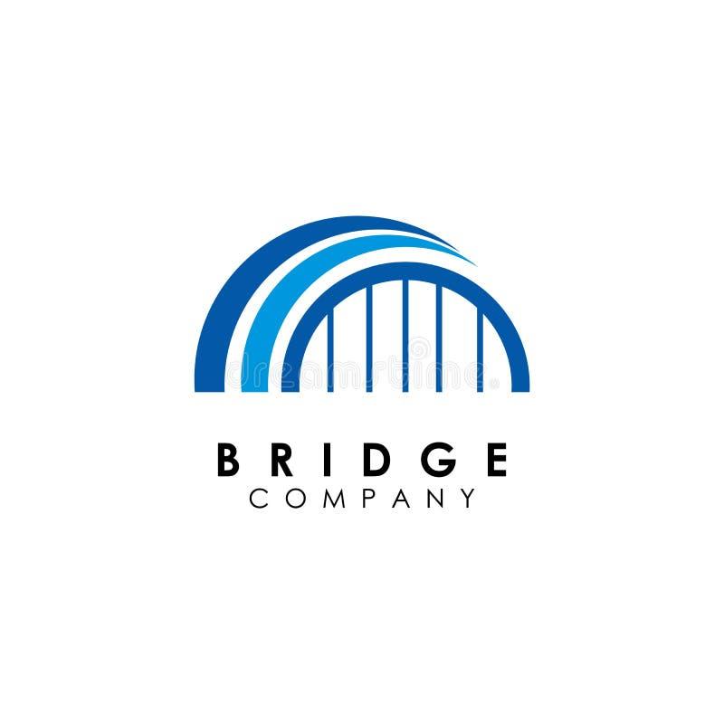 Brückenlogoschablone, Gebäudeentwurfsvektor, Ikone lizenzfreie abbildung