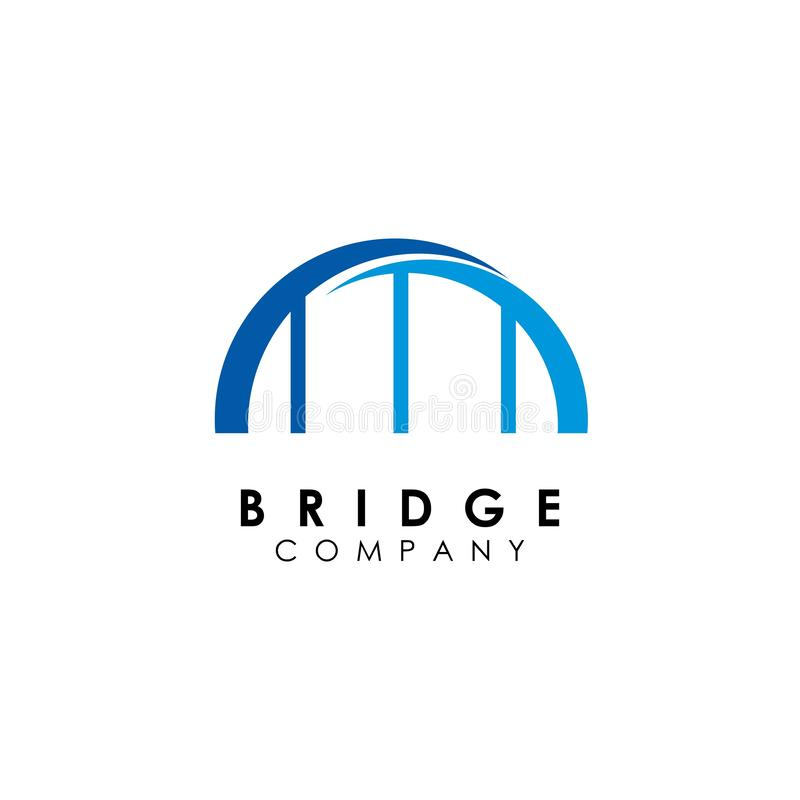 Brückenlogoschablone, Gebäudeentwurfsvektor, Ikone stock abbildung